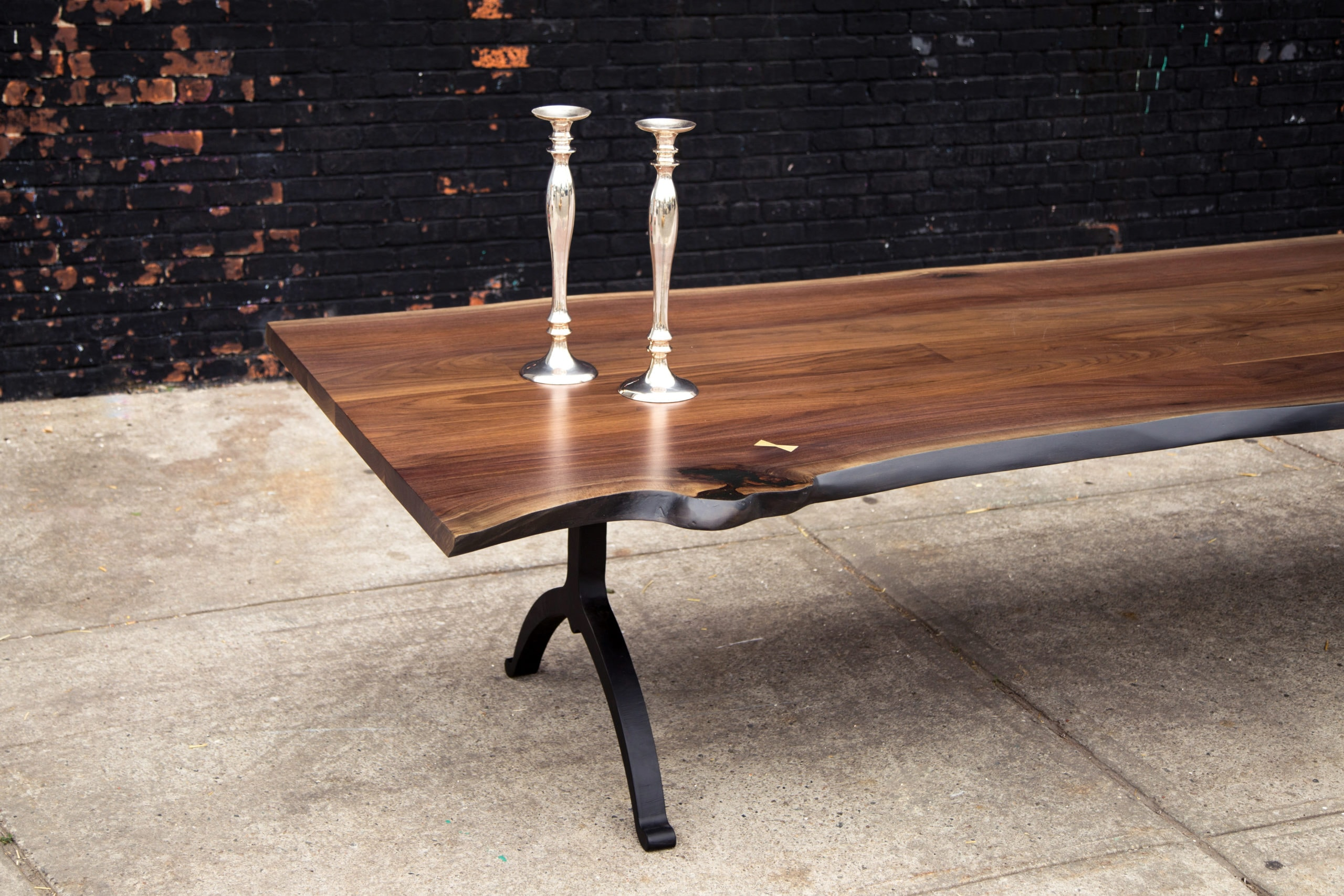 live edge tables with solid walnut