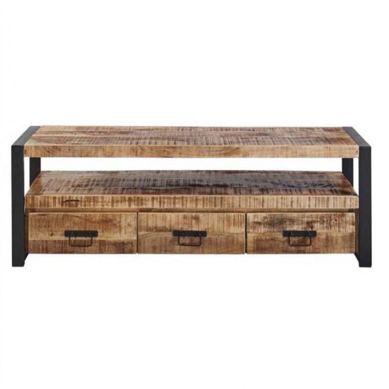 meuble tv manguier et metal 150 sahara
