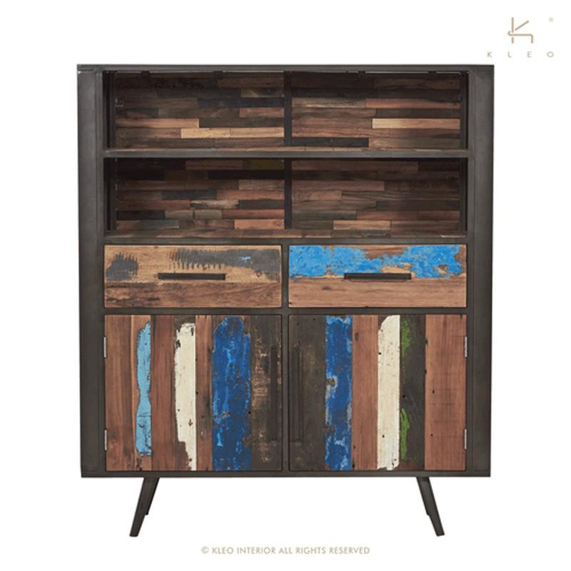 armoire 2 portes bois et metal 130 nordik