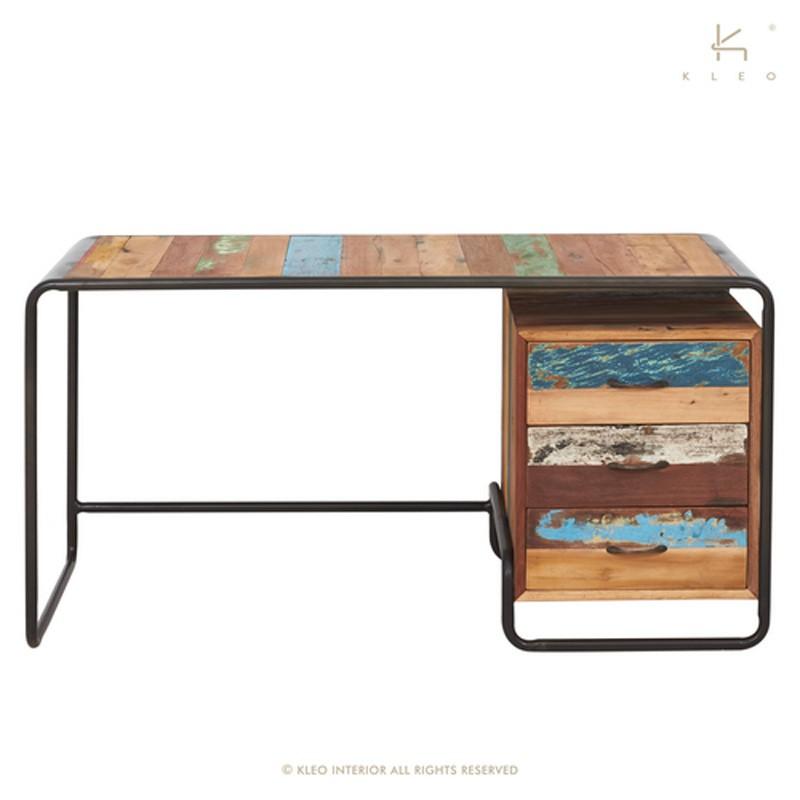 bureau bois et metal 150 retro
