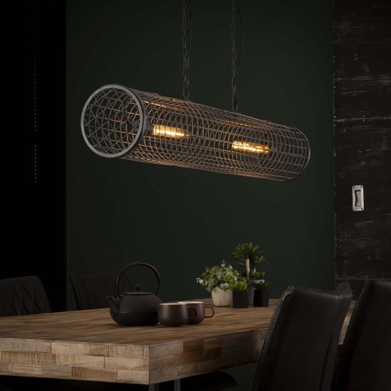 suspension horizontal en metal grillage de style industriel 2 ampoules