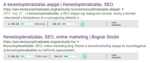 Page-Authority a SERP-ben