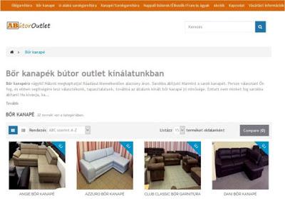 A bőr kanapé a honlap menüjében.