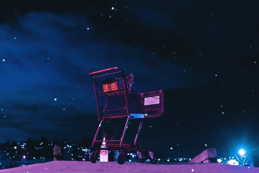 image of shopping cart in the night