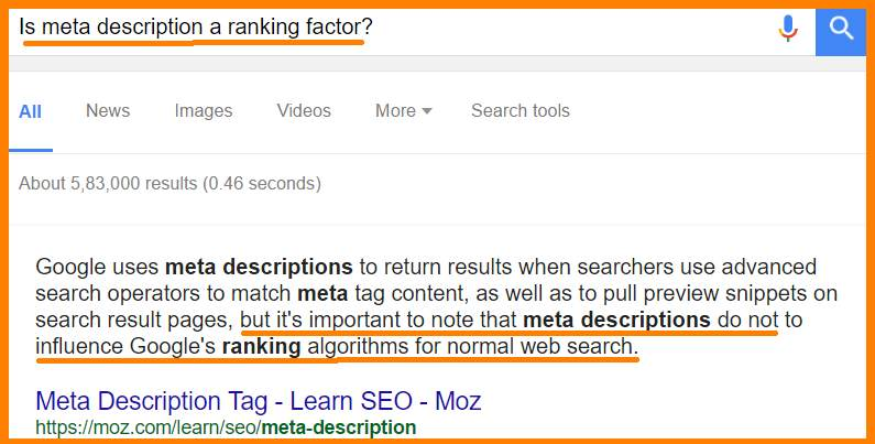 Are SEO Title and Meta Description ranking factors?