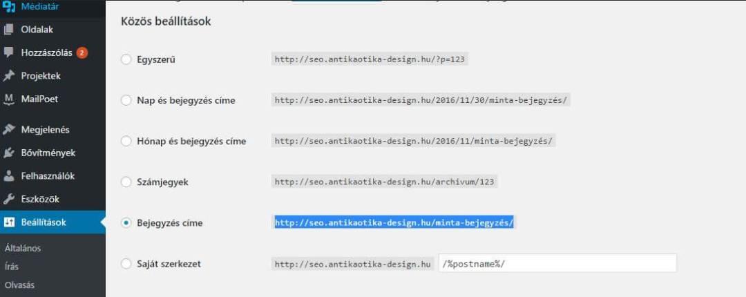 találati lista - keresőbarát URL