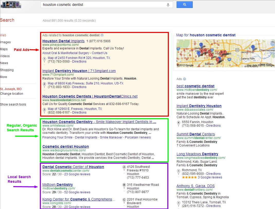 Local, organic and paid search results example