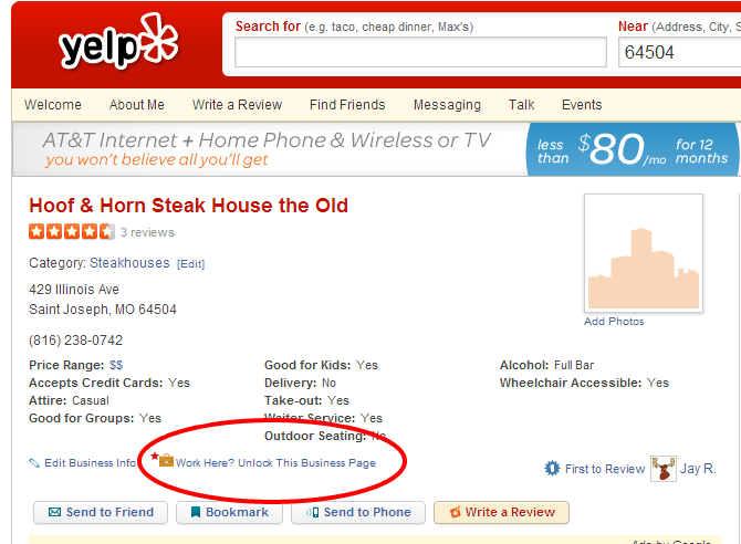 Screenshot of how to claim your business listing on Yelp