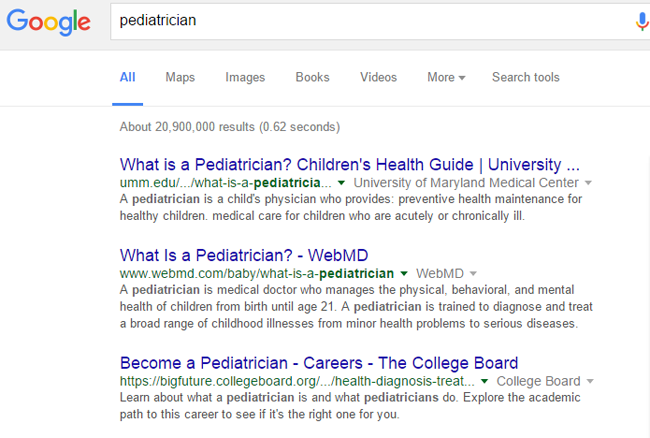 pediatrician local search results