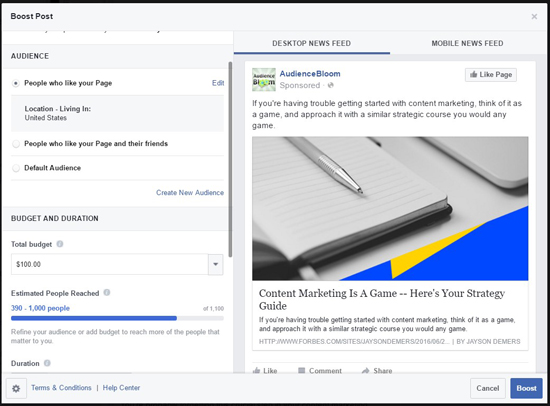 Boost Post Facebook