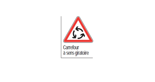 panneau intersection carrefour giratoire