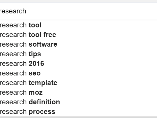 Keyword Research Suggested Google Searches