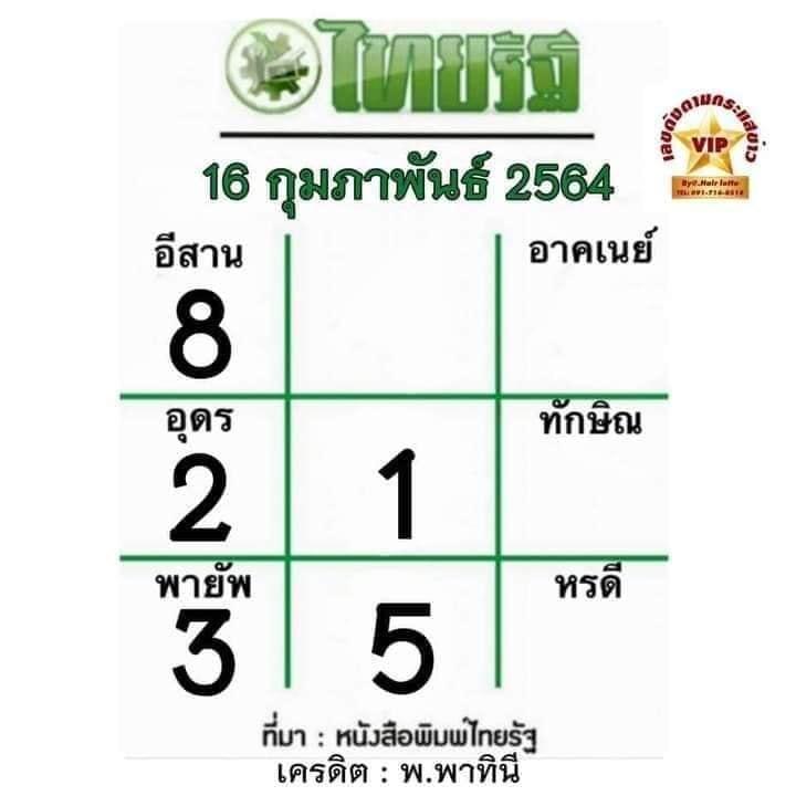 หวยไทยรัฐ 2-16-64