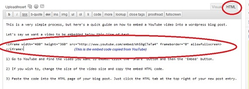 How to embed a YouTube Video into a Wordpress blog post