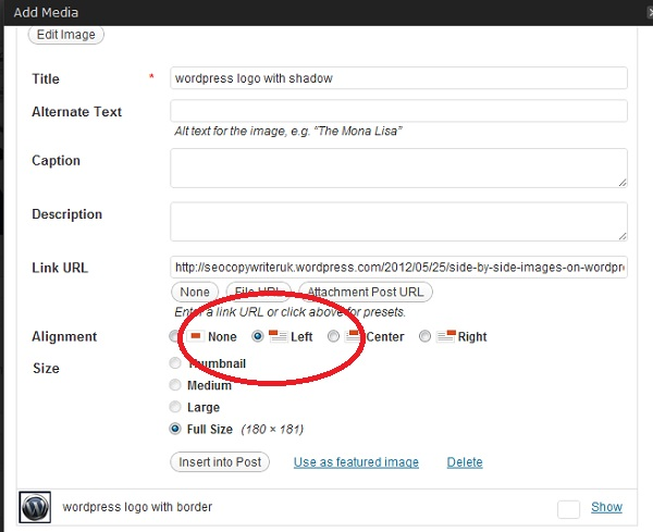 How do I get Side By Side Images on Wordpress (4/4)