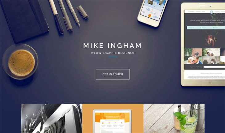 La web de Mike Ingham hace un uso exquisito del color azul en su web