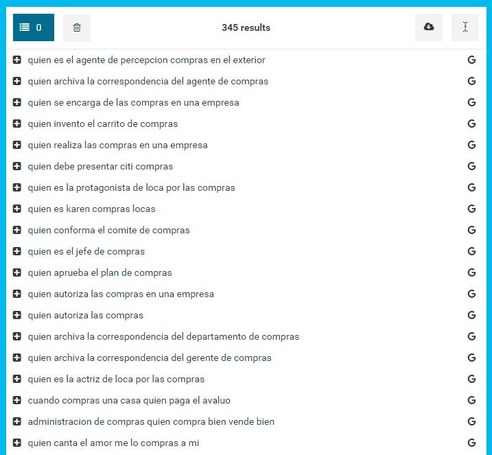 Buscar palabras clave en HyperSuggest