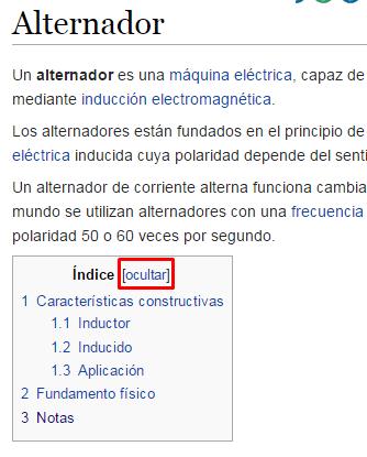Índice de un artículo de la Wikipedia