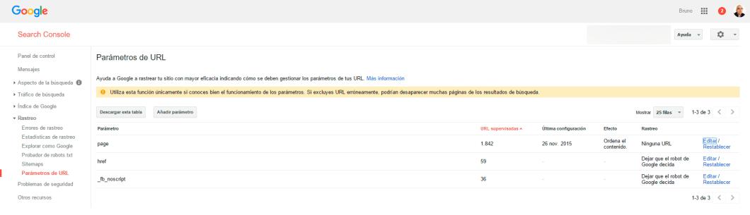 Muestra de parámetros que ha indexado Google