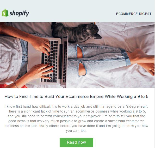 El email con newsletter de Shopify