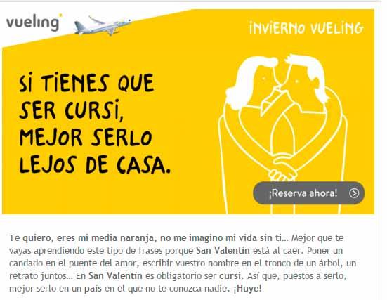 El email con insight de Vueling