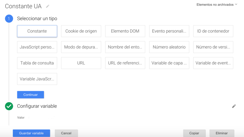 Crear una variable en Google Tag Manager