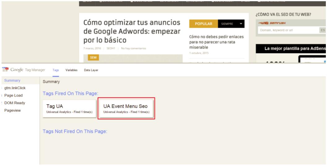 Google Tag Manager lanza el evento al hacer clic