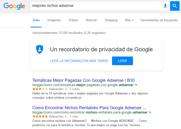Búsqueda en Google sobre los mejores nicho para monetizar con AdSense