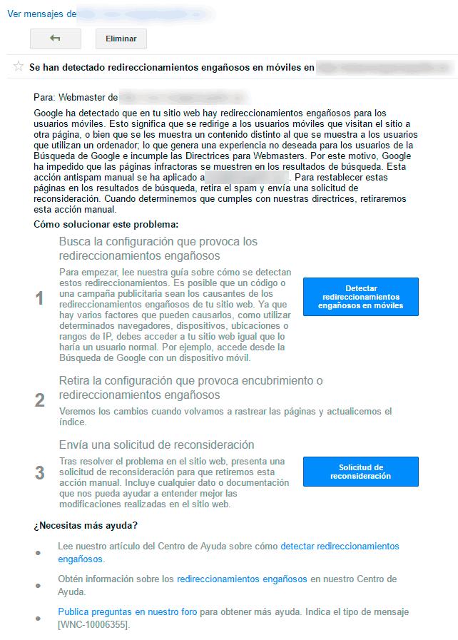 Aviso de penalización por redireccionamientos engañosos en Search Console