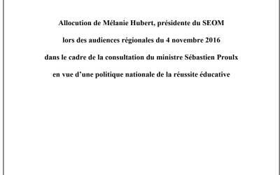 Allocution de Melanie Hubert présidente