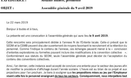 Convocation – Assemblée générale le 9 avril 2019