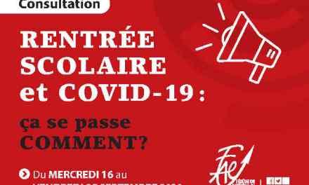 Consultation FAE sur la rentrée 2020 et la Covid-19