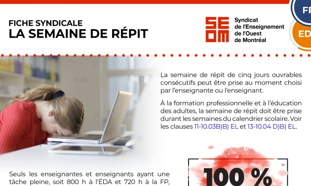 LA SEMAINE DE RÉPIT 2020-2021