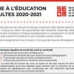 LA TÂCHE À L'ÉDUCATION DES ADULTES 2020-2021
