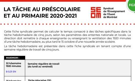 LA TÂCHE AU PRÉSCOLAIRE ET AU PRIMAIRE 2020-2021