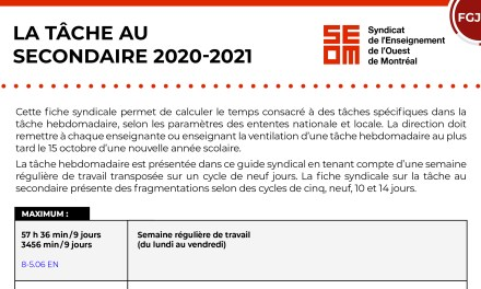 LA TÂCHE AU SECONDAIRE 2020-2021