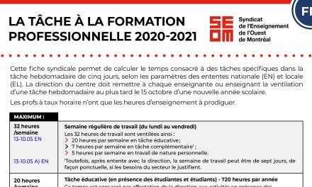 LA TÂCHE À LA FORMATION PROFESSIONNELLE 2020-2021