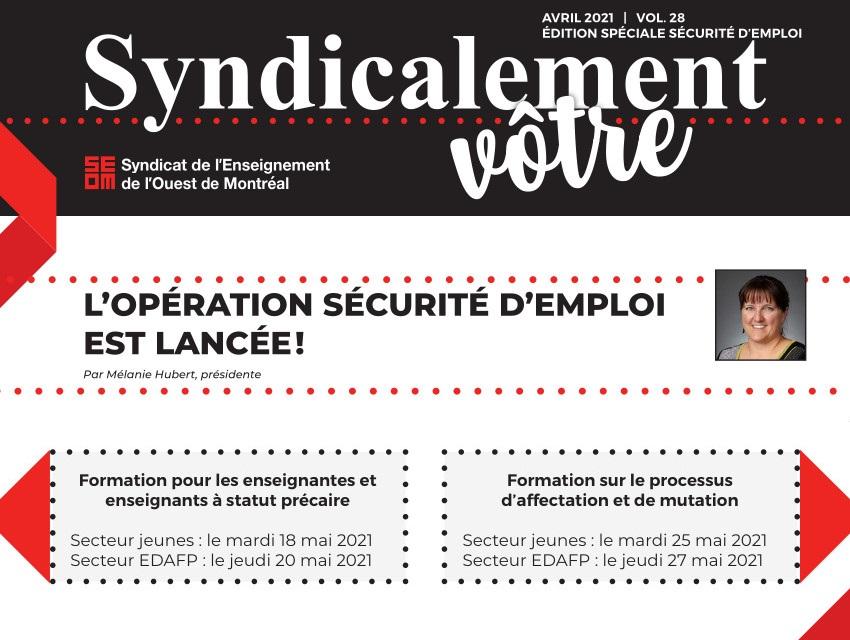 Le Syndicalement vôtre édition spéciale sécurité d'emploi vient de paraître