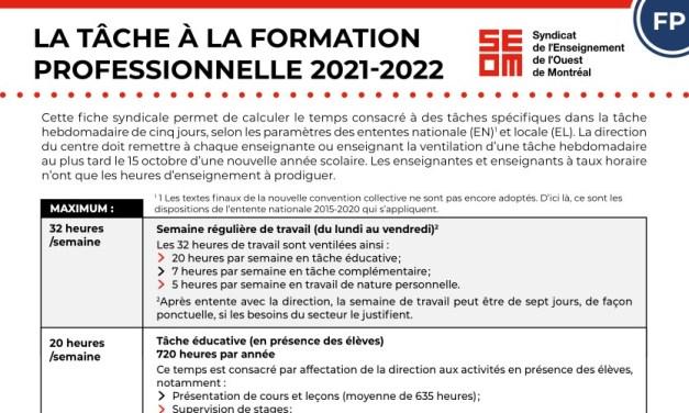 Tâche 2021-2022 | Formation professionnelle