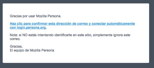 Correo de validación de Mozilla Persona