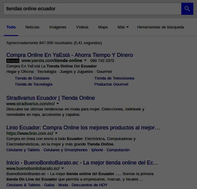 Resultados de búsqueda en Google: tiendas en línea en el país.