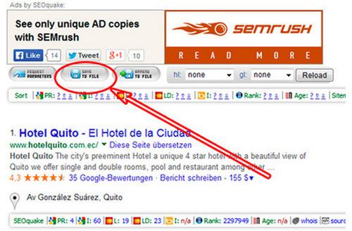 Descargar resultados de búsqueda con SEOQuake