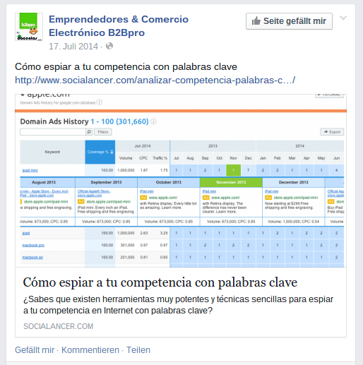 "Post de Facebook: ninguna optimización ""onpage""."