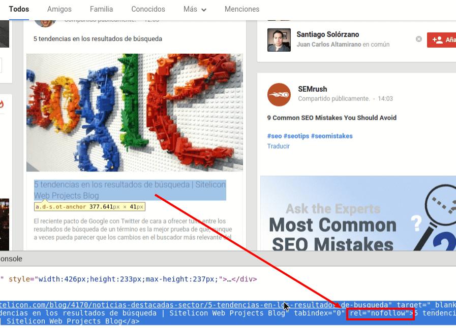 Links en Google+ son nofollow.