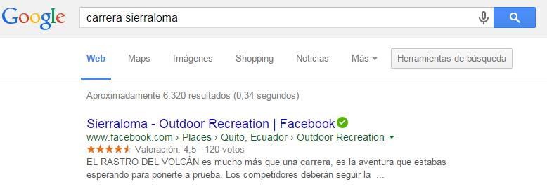 Resultados de Facebook en Google