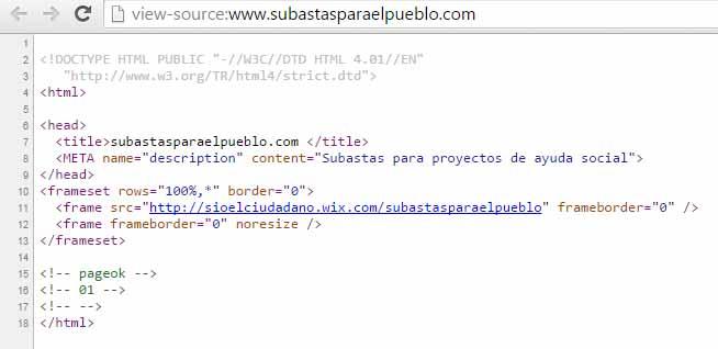 Fuente html de la página Subasta para el Pueblo: solo contiene un iframe