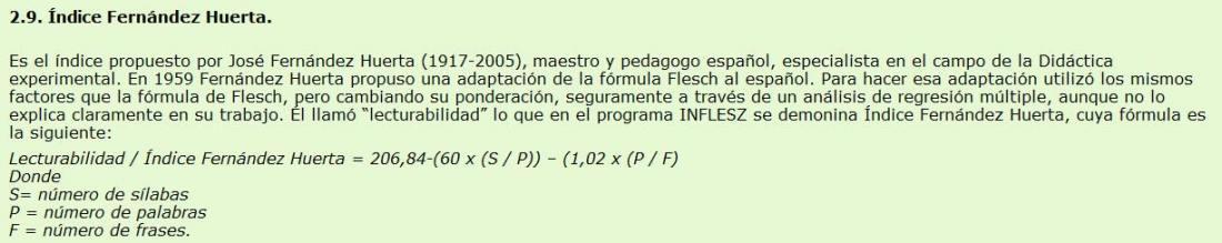 Índice de Fernández-Huerta según el programa INFLESZ