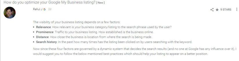Factores que influyen en el ranking de una p{agina de Google My Business.