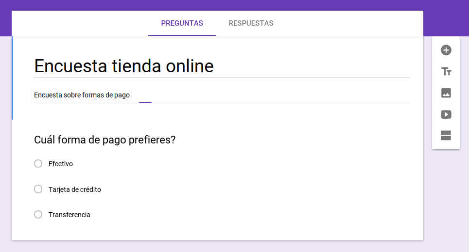 Ejemplo de una encuesta creada a través de Google Formularios