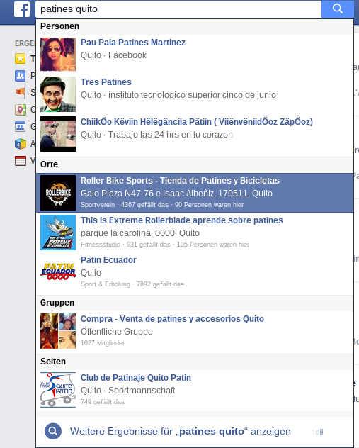 Buscando en el motor de búsqueda de Facebook.